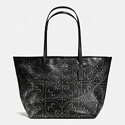 COACH LARGE STREET TOTE IN MINI STUDDED LEATHER - ANTIQUE NICKEL/BLACK - F35163