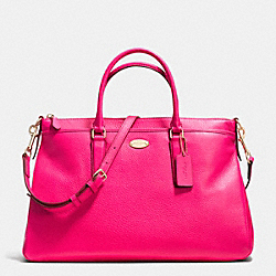 MORGAN SATCHEL IN PEBBLE LEATHER - f35185 - LIGHT GOLD/PINK RUBY