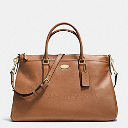MORGAN SATCHEL IN PEBBLE LEATHER - f35185 - LIGHT GOLD/SADDLE F34493