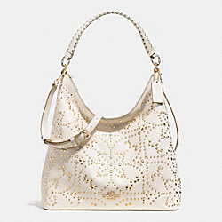 CELESTE CONVERTIBLE HOBO IN MINI STUDDED LEATHER - f35203 - LIGHT GOLD/CHALK