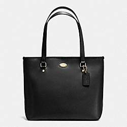 COACH F35204 - ZIP TOP TOTE IN CROSSGRAIN LEATHER IMITATION GOLD/BLACK F37336