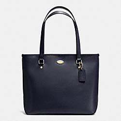 COACH F35204 - ZIP TOP TOTE IN CROSSGRAIN LEATHER LIGHT GOLD/MIDNIGHT