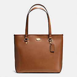 COACH F35204 - ZIP TOP TOTE IN CROSSGRAIN LEATHER LIGHT GOLD/SADDLE F34493