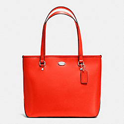 COACH F35204 - ZIP TOP TOTE IN CROSSGRAIN LEATHER SILVER/ORANGE