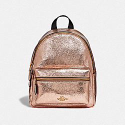 COACH F35238 Mini Charlie Backpack ROSE GOLD/LIGHT GOLD