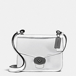 COACH F35284 Page Mini Crossbody In Mirror Metallic Leather ANTIQUE NICKEL/SILVER