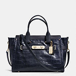 COACH F35321 Coach Swagger 37 In Croc Embossed Leather LIGHT GOLD/NAVY