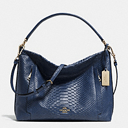 SCOUT HOBO IN PYTHON EMBOSSED LEATHER - f35326 - LIGHT GOLD/DENIM