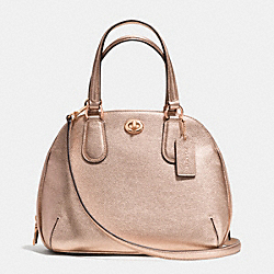 PRINCE STREET MINI SATCHEL IN METALLIC CROSSGRAIN LEATHER - f35330 - RE/ROSE GOLD