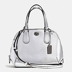 COACH F35332 Prince Street Mini Satchel In Mirror Metallic Leather ANTIQUE NICKEL/SILVER