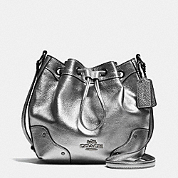 COACH F35363 Baby Mickie Drawstring Shoulder Bag In Grain Leather ANTIQUE NICKEL/SILVER