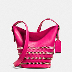 COACH F35373 Mini Duffle In Whiplash Leather LIGHT GOLD/PINK RUBY
