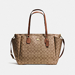 COACH F35414 Baby Bag In Signature Canvas  LIGHT GOLD/KHAKI/SADDLE
