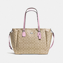 COACH F35414 Baby Bag In Signature SILVER/LIGHT KHAKI/PETAL