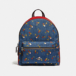 MEDIUM CHARLIE BACKPACK WITH CHERRY PRINT - f35425 - DENIM/MULTI/SILVER