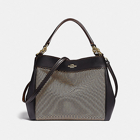 COACH F35427 SMALL LEXY SHOULDER BAG WITH LEGACY PRINT MILK/BLACK/LIGHT-GOLD
