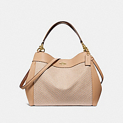 SMALL LEXY SHOULDER BAG WITH LEGACY PRINT - f35427 - MILK/BEECHWOOD/light gold
