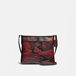 FILE CROSSBODY WITH WILD CAMO PRINT - F35440 - BURGUNDY MULTI/SILVER