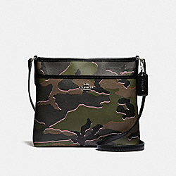 COACH F35440 File Crossbody With Wild Camo Print GREEN MULTI/SILVER