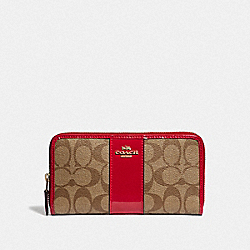 COACH F35443 Accordion Zip Wallet In Signature Canvas KHAKI/TRUE RED/LIGHT GOLD