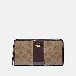 COACH F35443 Accordion Zip Wallet In Signature Canvas KHAKI/OXBLOOD/LIGHT GOLD