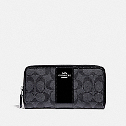COACH F35443 Accordion Zip Wallet In Signature Canvas BLACK SMOKE/BLACK/SILVER
