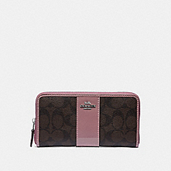 COACH F35443 - ACCORDION ZIP WALLET IN SIGNATURE CANVAS BROWN/DUSTY ROSE/SILVER