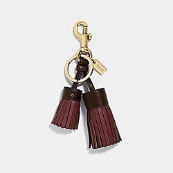 COACH F35445 Double Tassel Bag Charm GD/WINE