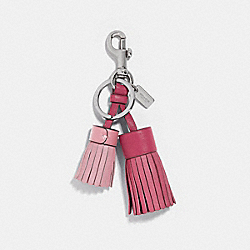 COACH F35445 Double Tassel Bag Charm STRAWBERRY/SILVER