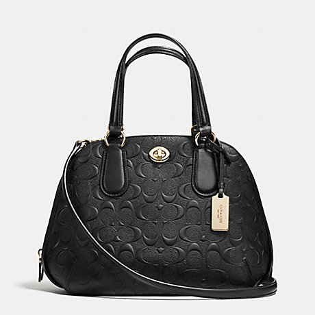 COACH F35452 PRINCE STREET MINI SATCHEL IN SIGNATURE EMBOSSED LEATHER -LIGHT-GOLD/BLACK