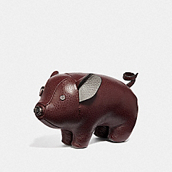 COACH F35478 Pig Paperweight OXBLOOD/BLACK ANTIQUE NICKEL