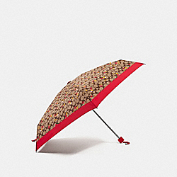 COACH F35489 - SIGNATURE MINI UMBRELLA WITH CHERRY PRINT SILVER/KHAKI/ORANGE