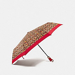 COACH F35504 - SIGNATURE UMBRELLA WITH CHERRY PRINT SILVER/KHAKI/ORANGE
