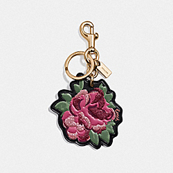 COACH F35598 - NEON FLOWER BAG CHARM BLACK/GOLD