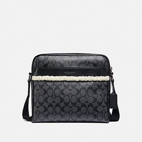 COACH F35612 CHARLES CAMERA BAG IN SIGNATURE CANVAS CHARCOAL/BLACK/BLACK COPPER FINISH
