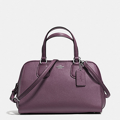 COACH f35650 NOLITA SATCHEL IN PEBBLE LEATHER SILVER/EGGPLANT