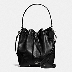 COACH F35684 Mickie Drawstring Shoulder Bag In Grain Leather ANTIQUE NICKEL/BLACK