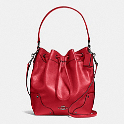 MICKIE DRAWSTRING SHOULDER BAG IN GRAIN LEATHER - f35684 - BLACK ANTIQUE NICKEL/CLASSIC RED