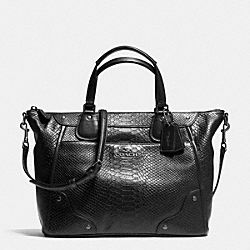 COACH F35687 Mickie Satchel In Exotic Leather ANTIQUE NICKEL/BLACK