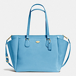 BABY BAG IN CROSSGRAIN LEATHER - f35702 - IMITATION GOLD/BLUEJAY