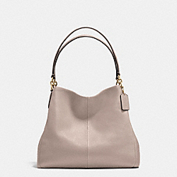 PHOEBE SHOULDER BAG IN PEBBLE LEATHER - f35723 - IMITATION GOLD/GREY BIRCH