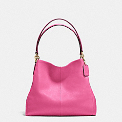 PHOEBE SHOULDER BAG IN PEBBLE LEATHER - f35723 - IMITATION GOLD/DAHLIA