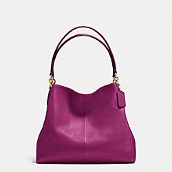COACH F35723 Phoebe Shoulder Bag In Pebble Leather IMITATION GOLD/FUCHSIA