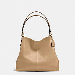 PHOEBE SHOULDER BAG IN PEBBLE LEATHER - f35723 - IMITATION GOLD/NUDE