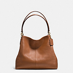 COACH F35723 Phoebe Shoulder Bag In Pebble Leather LIGHT GOLD/SADDLE