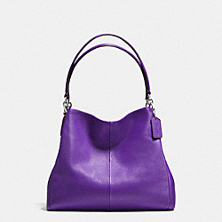 COACH F35723 - PHOEBE SHOULDER BAG IN PEBBLE LEATHER SILVER/PURPLE IRIS