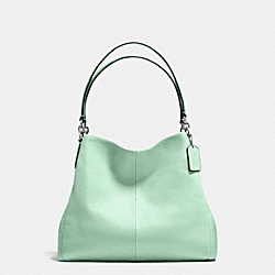 PHOEBE SHOULDER BAG IN PEBBLE LEATHER - f35723 - SILVER/SEAGLASS