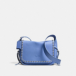 RIVETS DAKOTAH CROSSBODY IN CALF LEATHER - f35753 - WARM ROLLER NICKEL/SADDLE/PERIWINKLE