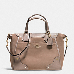 COACH F35778 Mickie Satchel In Suede LIGHT GOLD/STONE