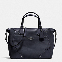 COACH F35778 Mickie Satchel In Suede ANTIQUE NICKEL/MIDNIGHT
